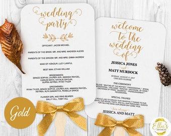 Wedding Fans, Printable Wedding Fan Program Template, Fan Wedding Program, Editable text, Modern Calligraphy, Mr Mrs, 001 GOLD