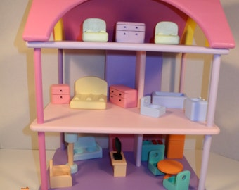 Wooden Toy Dollhouse W/4 People and Furniture. Toddler Dollhouse Toy all wood, hand painted