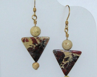 Triangular Brecciated Jasper and Picture Jasper Earrings on Gold Filled Ear Wires, Natural Stone Earrings, Jasper Jewelry, Gift for Her