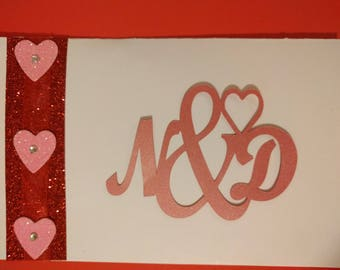 Personalized with Names or Initials - Customized, Unique and Made to order, die cut Anniversary Card