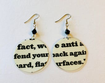 Big Block Print Recycled Magazine Earrings