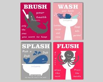 Childrens Bathroom Art Kids Bathroom Prints Nautical Kids Bathroom Rules Brush Your Teeth Wash Your Hands Kids Bath Print Choose Colors KB02