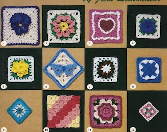 101 Crochet Squares, American School of Needlework Classic Crochet Pattern Book 1216 Blocks Flowers & More