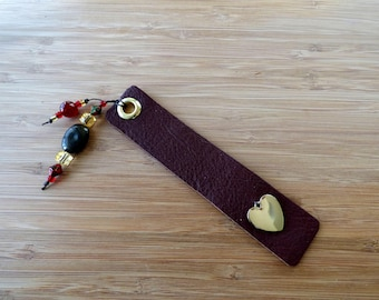 Leather Bookmark with Heart and Beads