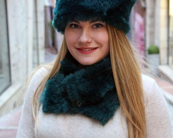 Faux fur hat and scarf set, russian hat and scarf, winter hat and scarf, warm hat and scarf, womens winter hat, fur hat, green hat and scarf