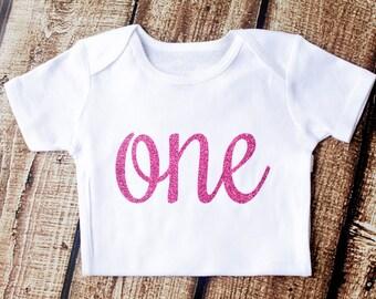 First Birthday Onesie, First Birthday Shirt, 1st Birthday Outfit, Hot Pink Glitter, One Shirt, Birthday Shirt, Girls shirt, Second Birthday