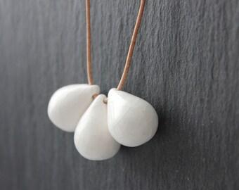 Handmade ceramic drop beads, white pendant necklace