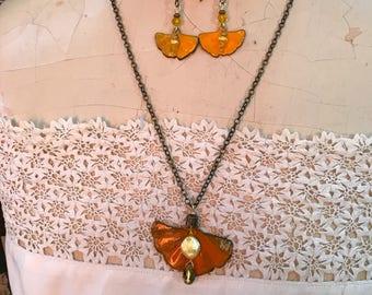 Ginkgo Enameled Necklace and Earring set, Orange