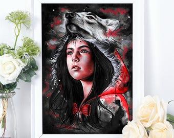 Little Red Fine Art Print, Wall Art, Home Decor, Fairytale Art, Nursery Art, Little Red Riding Hood, Hand Signed, Illustration
