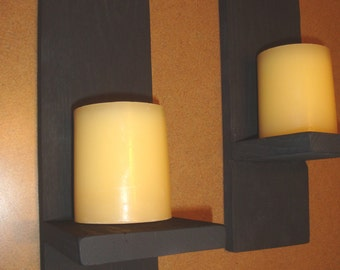 Reclaimed Wood Candle Sconces Pair