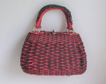 60's Lesco Lona wicker handbag made in Hong Kong Plastic coated wicker navy and red