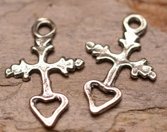 Two Tiny Milagro Cross with Open Heart in Sterling Silver, R-161, S/2