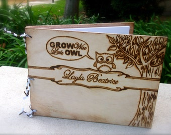 Personalized baby journal owl themed