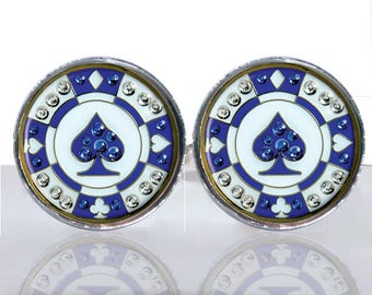 Poker Chips Spade Round Glass Tile Cuff Links CIR186