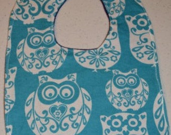 Blue Owls flannel bib