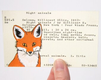 Fox on Library Card - Print of my painting of woodland fox on library card catalog card for the book Night Animals