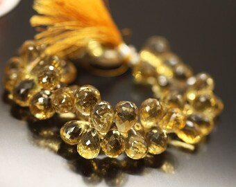 """Yellow Beer Quartz Faceted Briolette Tear Drop Gemstone Bead Strand 8"""" 13mm 12mm - Jewelry Making"""