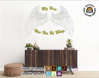 Male Hero Wings Wall Decal Design - Dad Decal Silhouette, Cricut, ScanNcut Vinyl Cutter SVG Fathers Day Memorial WIngs