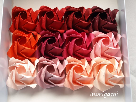 Red hues 1 rose offered separately origami rose flower for red hues 1 rose offered separately origami rose flower for individual display or bouquet and arrangements hq paper from inorigami on etsy studio mightylinksfo