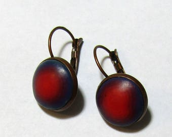 Rich, Deep Red Fading to Purple Polymer Clay Earrings by Carol Wilson of PollyClayDesigns