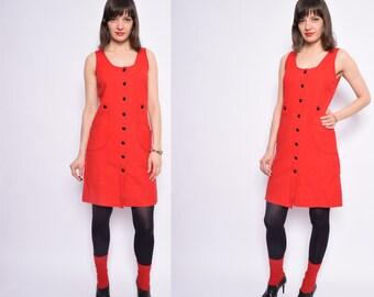 Vintage 70's Red Wool  Dress / Sleeveless Wool Button Dress - Size Medium