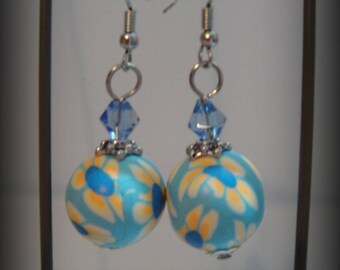 Polymer clay, Blue Pearl Earrings / yellow flower design