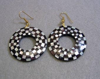 Checkerboard Ebony and Mother of Pearl Hoop Pierced Earrings, Mosaic Earrings