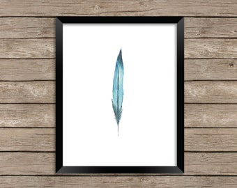 Bluebird Feather Watercolor Illustration Beach Boho Style Fine Art Wall Art Home Decor Print