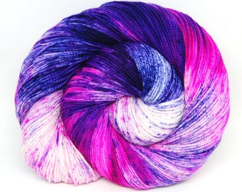 "Acoustic Sock Yarn - ""Neon Lotus"" - Handpainted Superwash Merino - 400 Yards"
