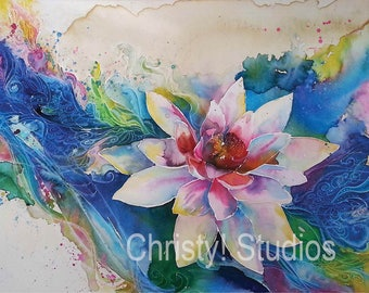 Lotus Flower - Fine Art Print - watercolor and coffee, zen flow of water and peace