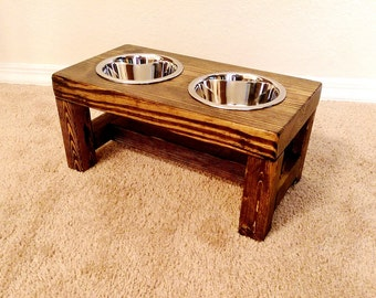 Elevated dog bowl, Small dog feeder, Dog bowl, Dog lover gift, Dog bowls, Dog bowl stand, Pet furniture, Farmhouse decor, Raised dog bowl