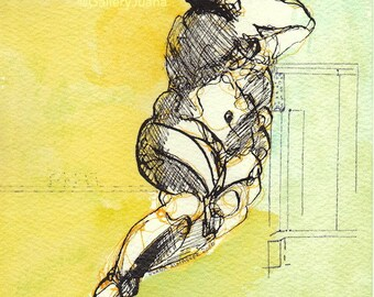 Woman September 20I6, original drawing, mixed media painting