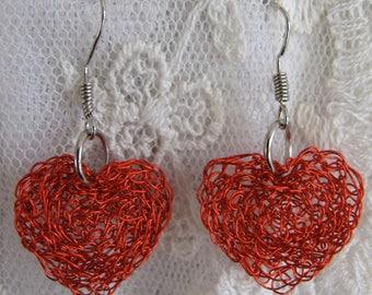 Hand crocheted wire Heart earrings, Valentine's wire crochet earrings, Wine purple wire crocheted heart earrings