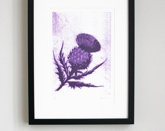 Limited edition thistle screen print, hand printed Scottish thistle, small unframed print in purple ink