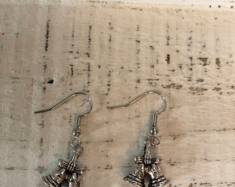 Small silver bell earrings