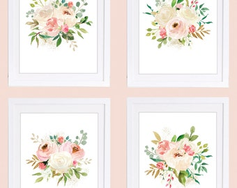 Set of 4 Prints, Rose Prints, Floral Nursery Wall Art, Watercolor Florals, Blush Flowers, PRINTABLE NURSERY ART, Ivory Roses, Blush Roses