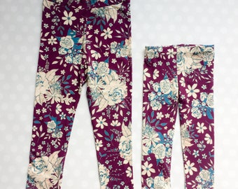 Mommy and Me Leggings - Mother Daughter Leggings - Matching Leggings - Plum Floral Leggings - Floral Leggings - Printed Leggings