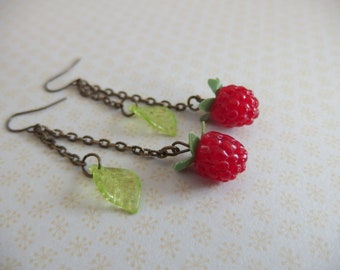 Fruit Earrings: raspberries
