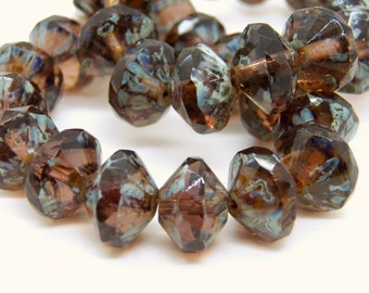 Czech Amethyst with Picasso 9x13mm Faceted Fire Polished Glass Saucer Beads (10) 0412