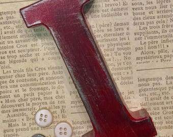 Vintage Inspired Metal Letter I ~ Distressed Letter  ~ Fire Engine Red ~ Wall Mount Letter ~ Pick your color