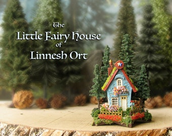 Linnesh Ort's Fairy House Upon a Star - Miniature Robin's Egg Blue Cottage w/ Tile Roof, Wrought Iron Fence, Mailbox, Flowers & Pine Trees