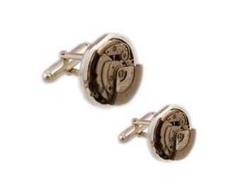ROUND CUFFLINKS / Silver Cufflinks - Antique Watch Movement - Steampunk - Minimal - Modern - Futuristic - Cyber Fashion - Techwear - Vintage