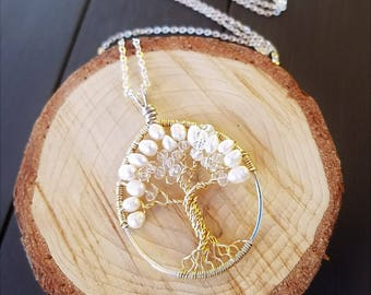 Wire Wrapped Tree of Life Pendant in 14K Gold Filled & Sterling Silver with Crystals  and Pearls on Sterling Silver Chain, Wedding Keepsake