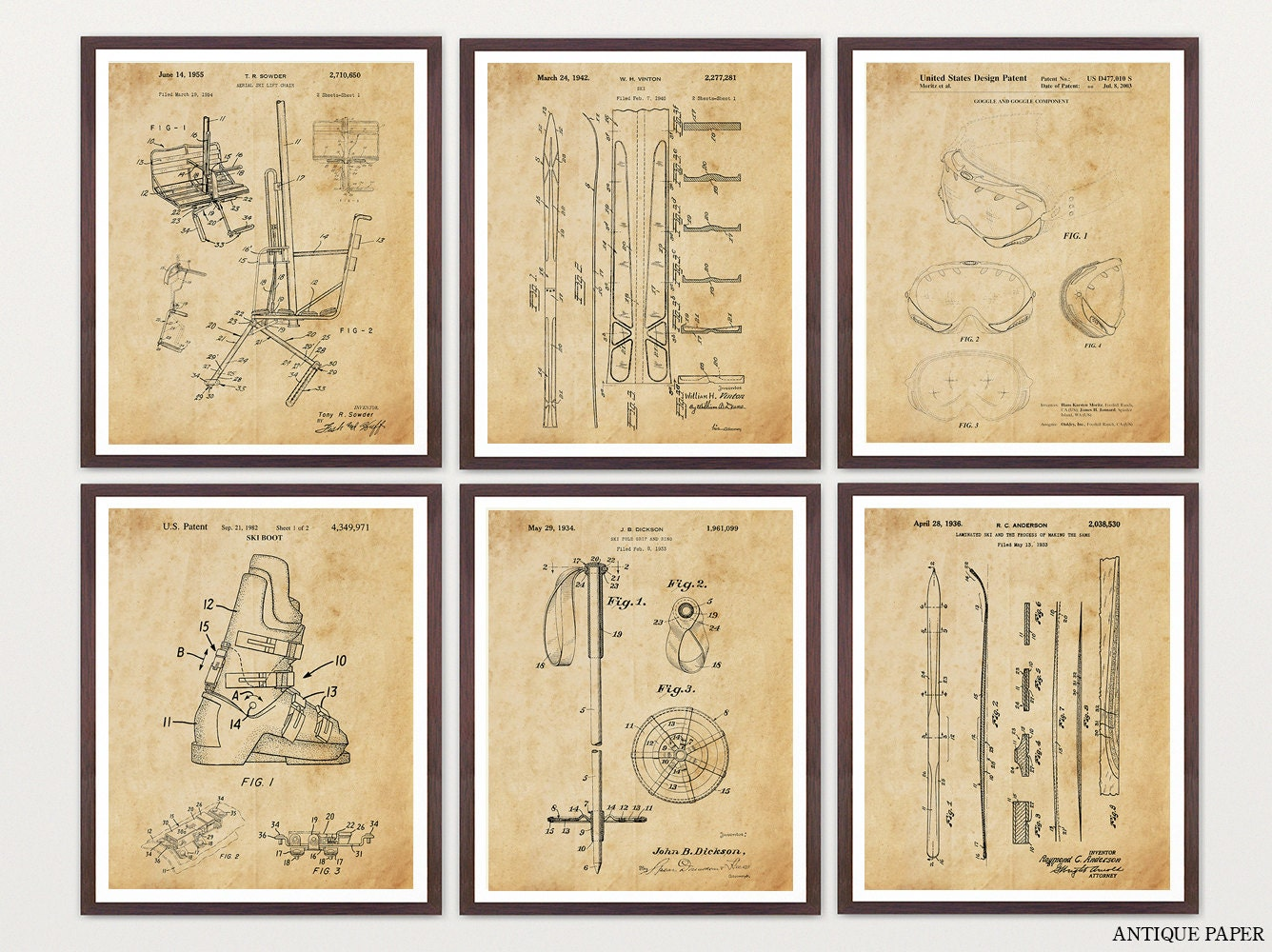 Ski Patent Posters Skiing Art Skiing Wall Art Skiing