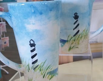 Lighthouse beach scene latte mug - hand painted