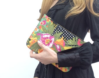 Fabric Pouch.Travel Pouch.Fabric Toiletry Pouch.Zipper Pouch.Everyday Pouch.Black Polka dots and flowers.Statement print.Ready to ship.