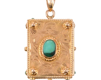 18KT Gold and Turquoise Book Locket