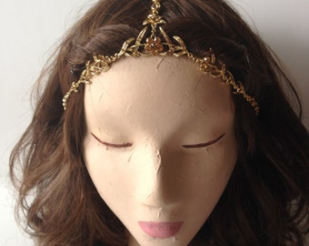 COACHELLA SALE Gold Flowers and Thorns Crystal Gypsy Stretchband