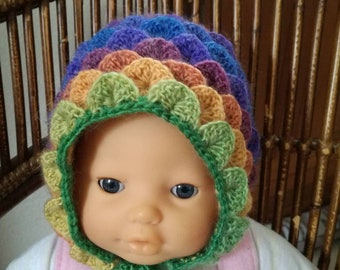 Crocheted rainbow crocodile stitch baby Hat