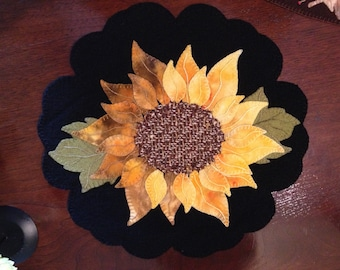Beautiful Sunflower Pre Cut Wool Applique Kit